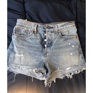 Levi's Ripped High Rise Shorts